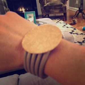 Rose gold and gray leather bracelet